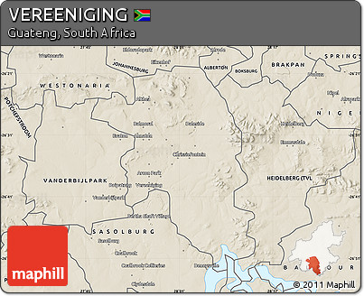 Free Shaded Relief Map of VEREENIGING
