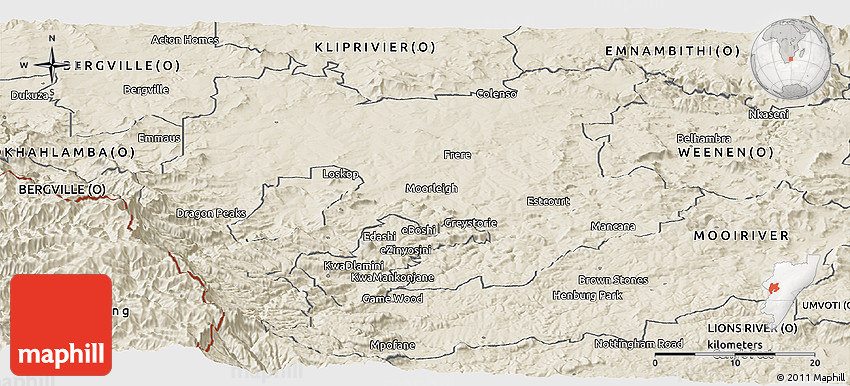 Shaded Relief Panoramic Map of ESTCOURT (O)
