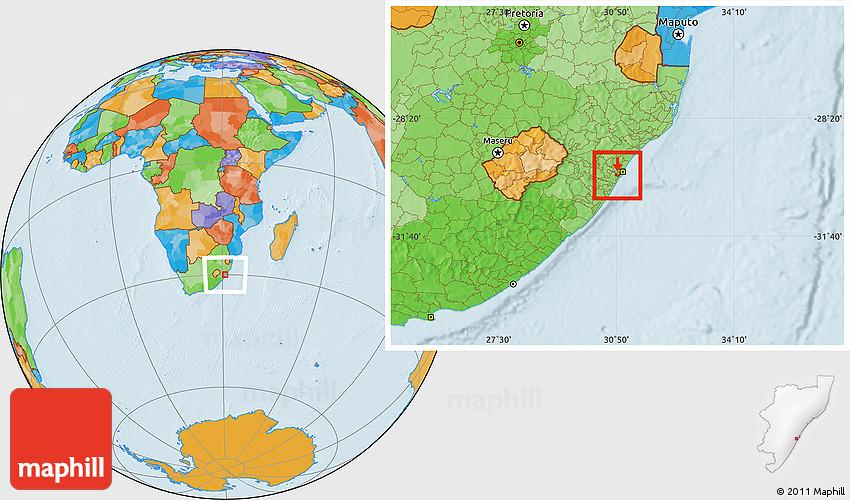 Political Location Map of UMLAZI