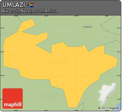 Free Savanna Style Simple Map of UMLAZI