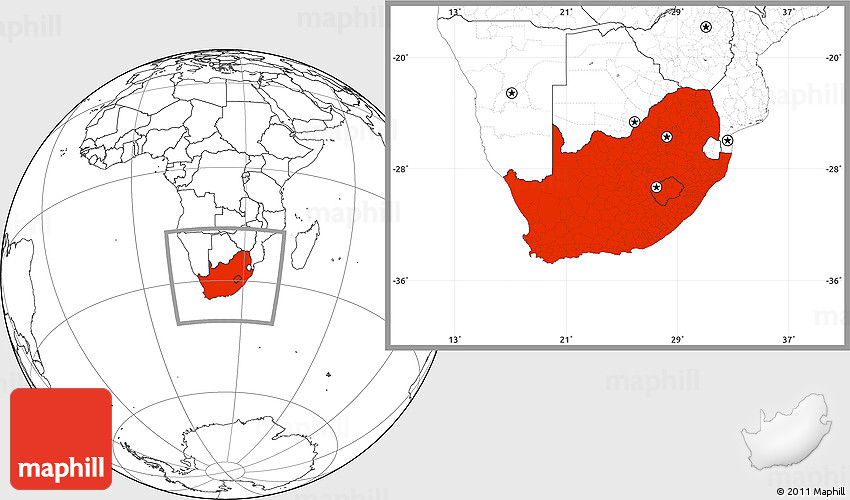 Blank Location Map of South Africa
