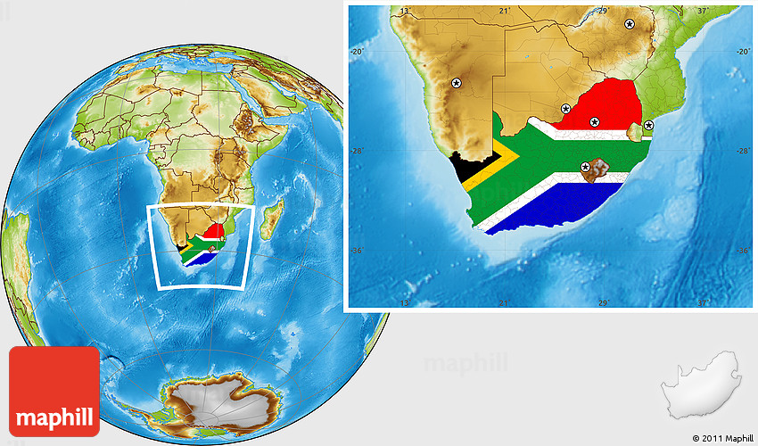 Flag Map Of Africa.Flag Location Map Of South Africa Physical Outside