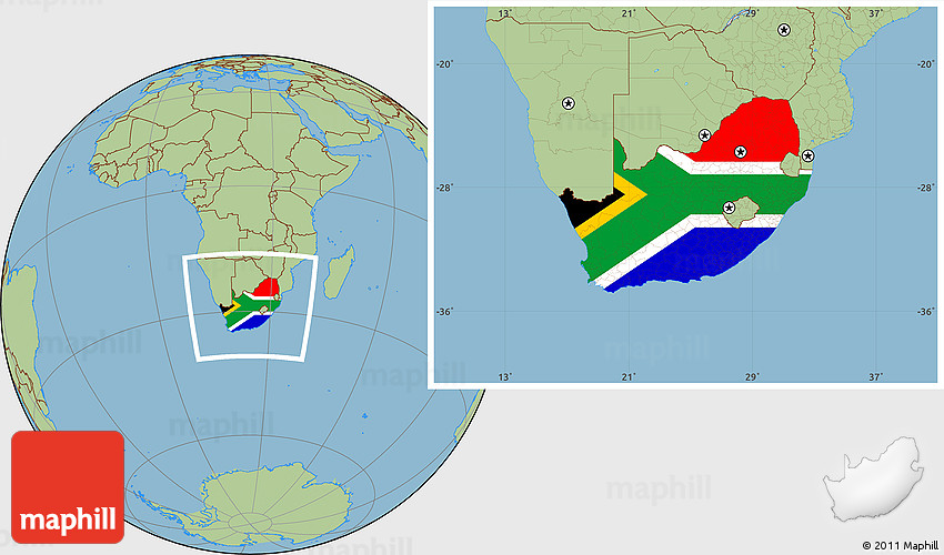 Flag Location Map of South Africa savanna style outside