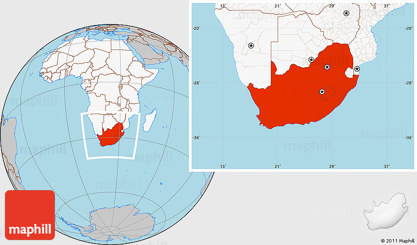 Gray Location Map Of South Africa Highlighted Continent: Where Is South Africa Map World At Slyspyder.com