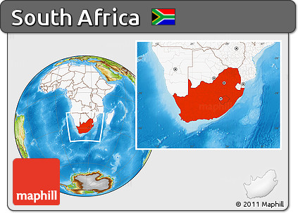 Physical Location Map of South Africa, highlighted continent