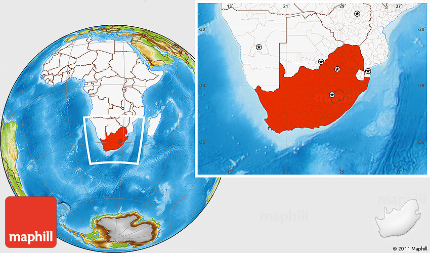 Physical location map of south africa highlighted continent westnortheast south gumiabroncs Image collections