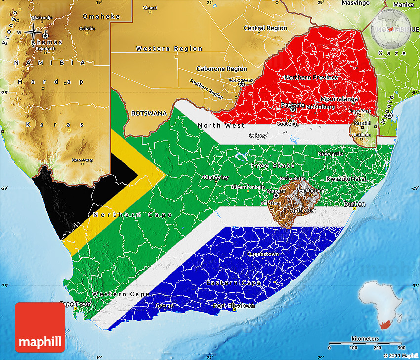 Flag Map of South Africa physical outside