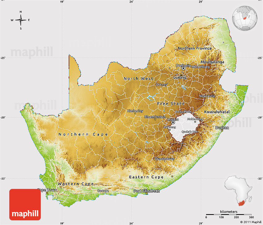 Physical Map Of South Africa Cropped Outside - Map of south africa