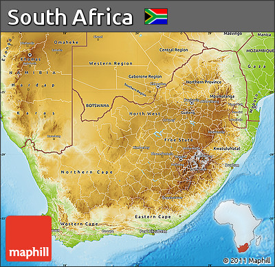 Free Physical Map of South Africa