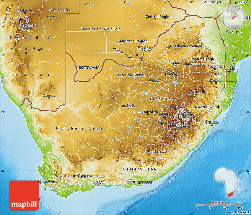 Maps South Africa.Physical Map Of South Africa