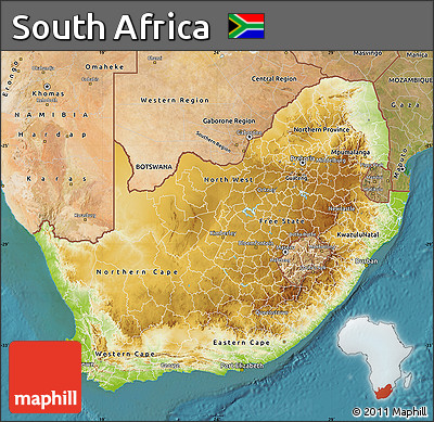 Free Physical Map Of South Africa Satellite Outside - South africa map physical