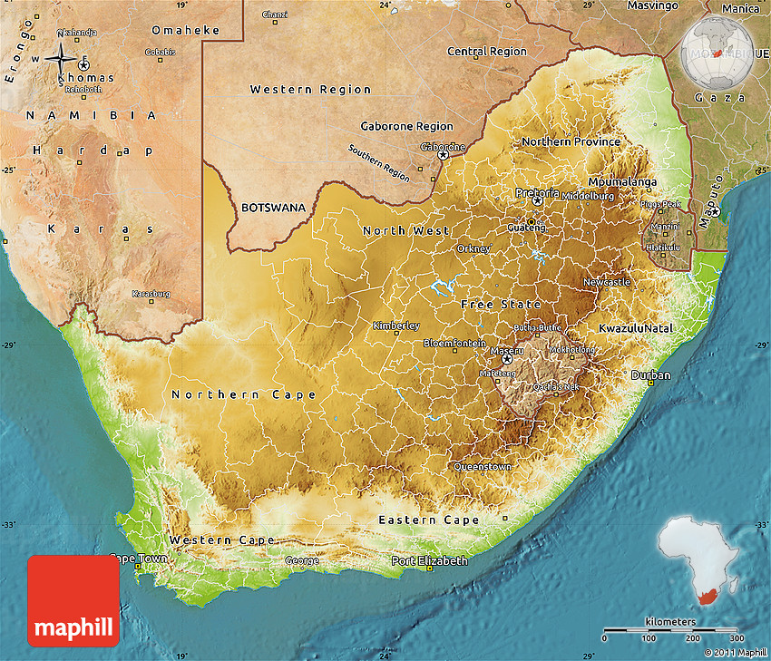 Satellite Map South Africa Physical Map of South Africa, satellite outside