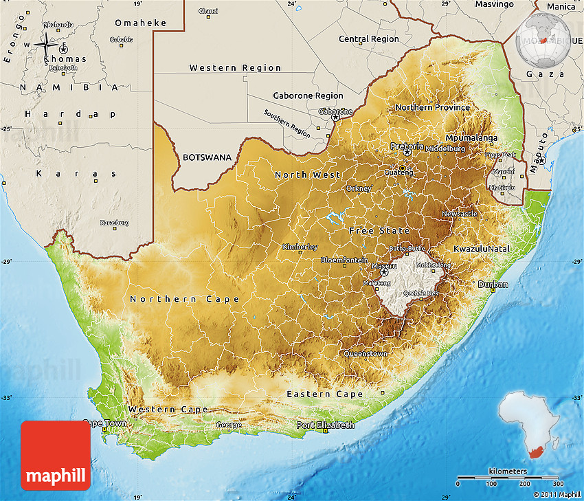 Physical Map of South Africa shaded relief outside