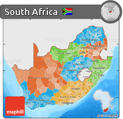 Free Political Map Of South Africa Single Color Outside Bathymetry Sea