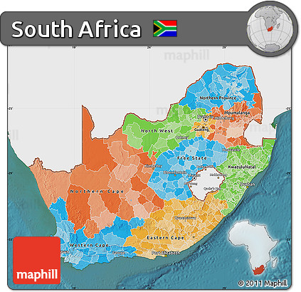 Free Political Map Of South Africa Single Color Outside Satellite Sea