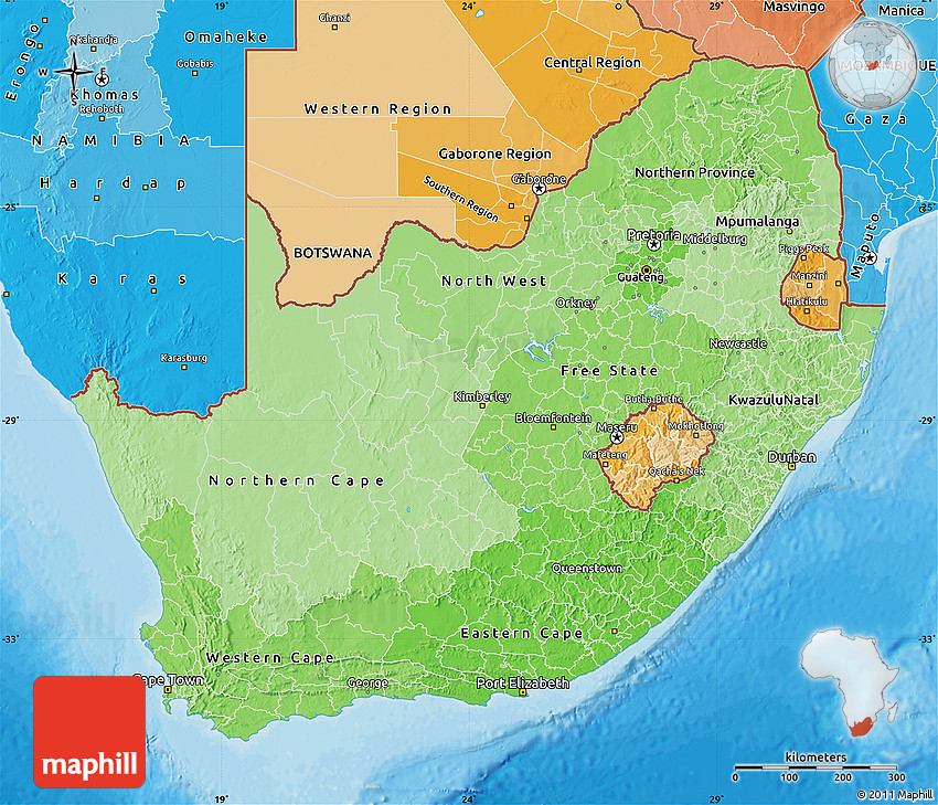 Political Shades Map of South Africa