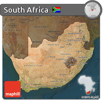 Free Satellite Map of South Africa, darken