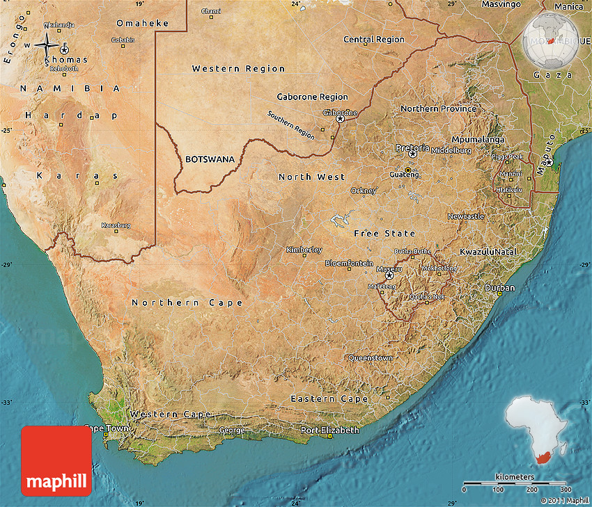 Satellite Map of South Africa