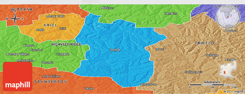 bethal south africa map Political Panoramic Map Of Bethal bethal south africa map