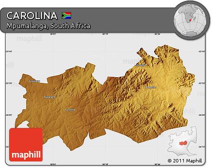 Mpumalanga Map Carolina Physical Map of Carolina