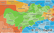 Political Shades 3D Map of North West