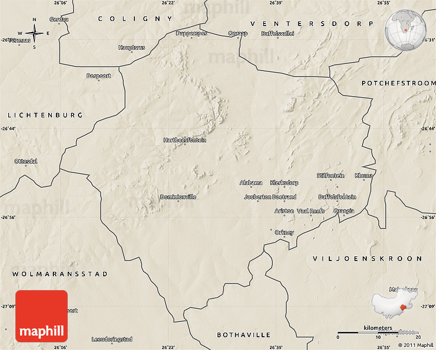 Klerksdorp South Africa  City new picture : Shaded Relief Map of KLERKSDORP