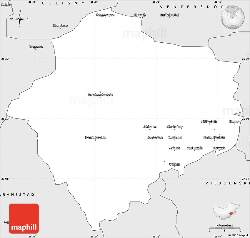 Klerksdorp South Africa  City new picture : Silver Style Simple Map of KLERKSDORP