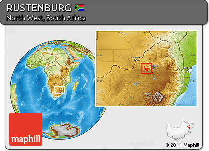 Free Physical Location Map of RUSTENBURG
