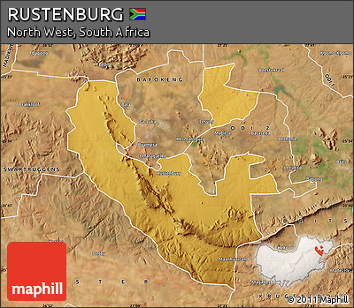 Free Physical Map of RUSTENBURG satellite outside