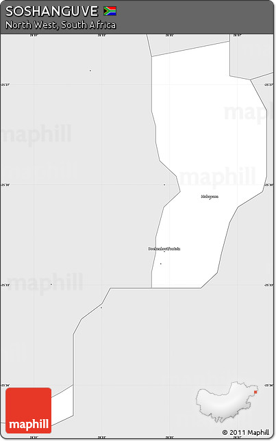 Free Silver Style Simple Map of SOSHANGUVE