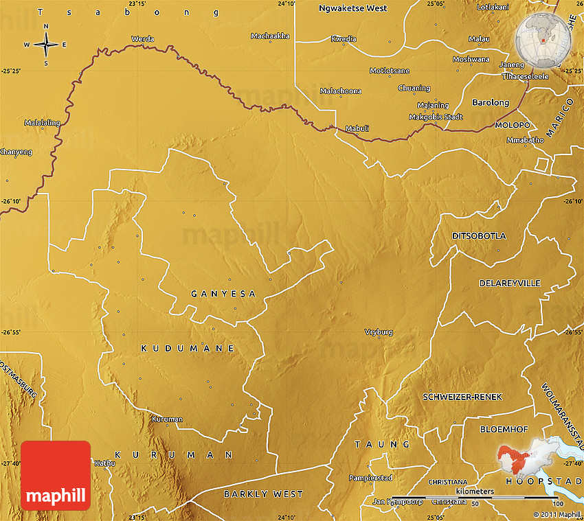 Physical Map of VRYBURG