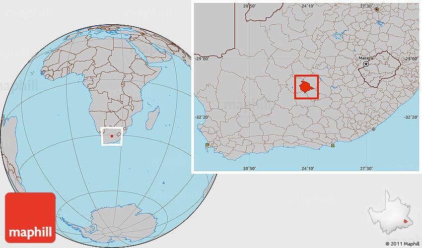 De Aar South Africa Map Gray Location Map of DE AAR