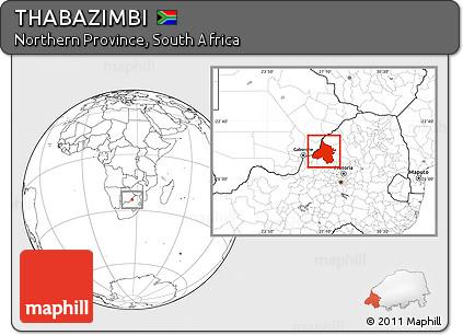 Free Blank Location Map of THABAZIMBI