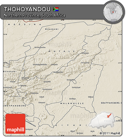 Free Shaded Relief Map of THOHOYANDOU