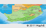 Political Shades Panoramic Map of South Africa