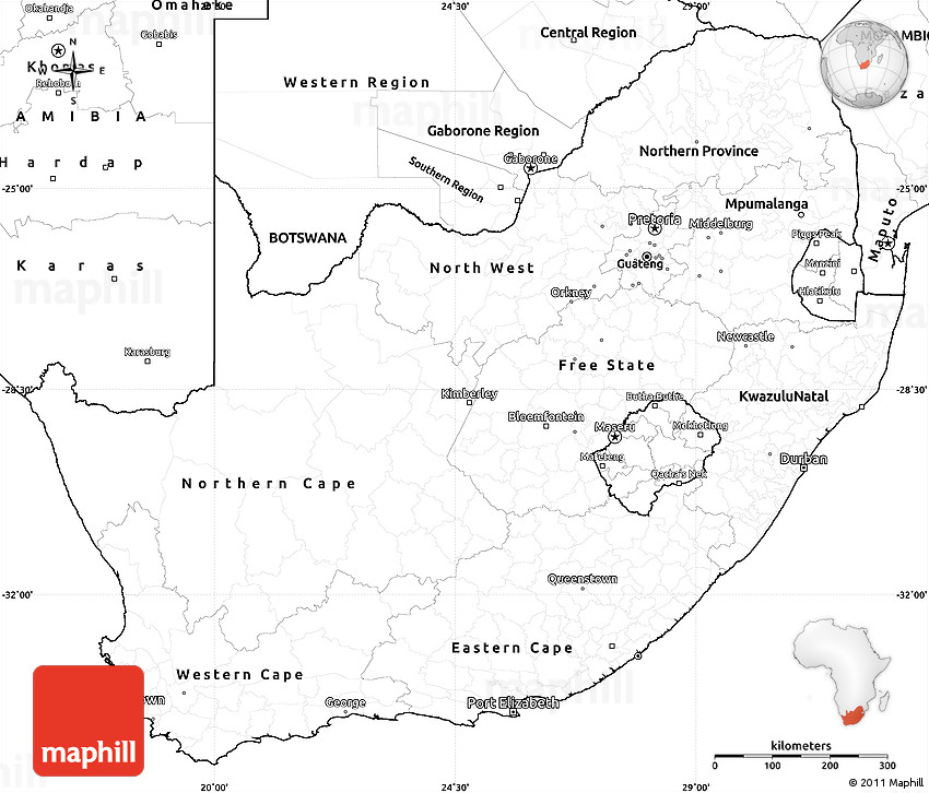 Blank Simple Map Of South Africa - Blank map of south africa