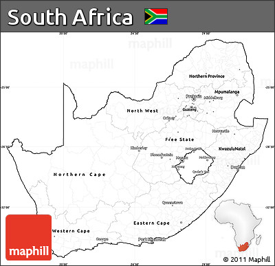 Free Blank Simple Map of South Africa, cropped outside