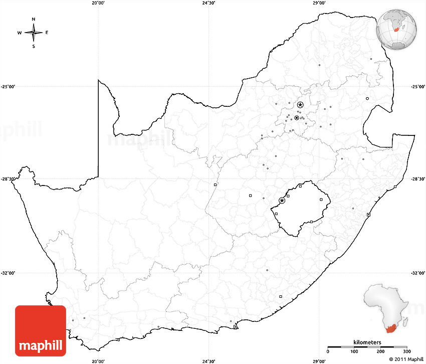 Blank Simple Map Of South Africa Cropped Outside No Labels - Blank world map for labeling