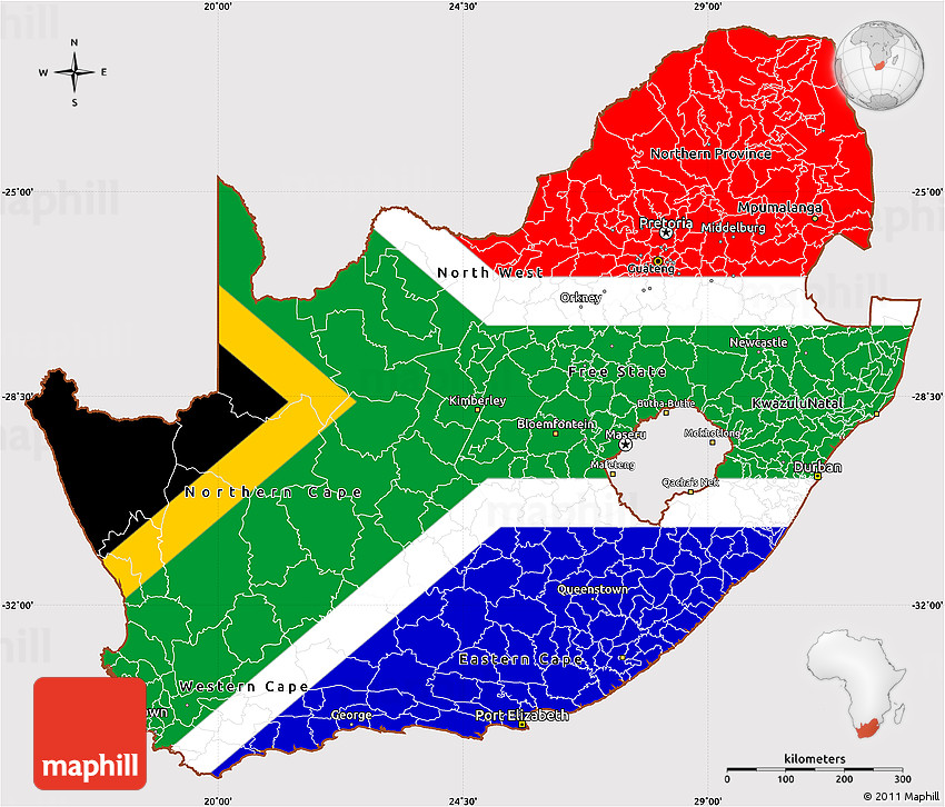 Flag Simple Map of South Africa