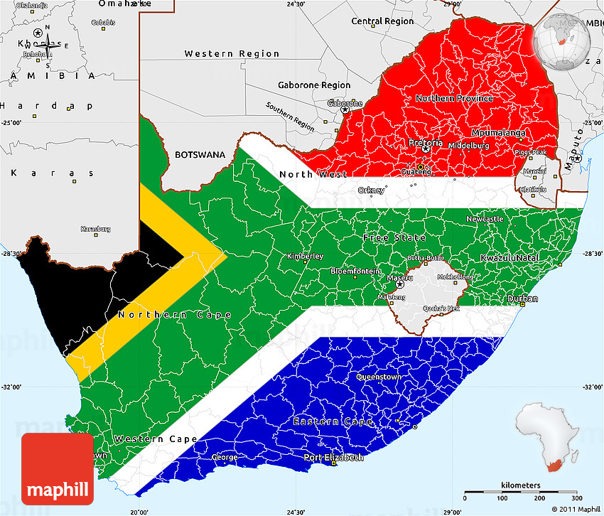south africa map color