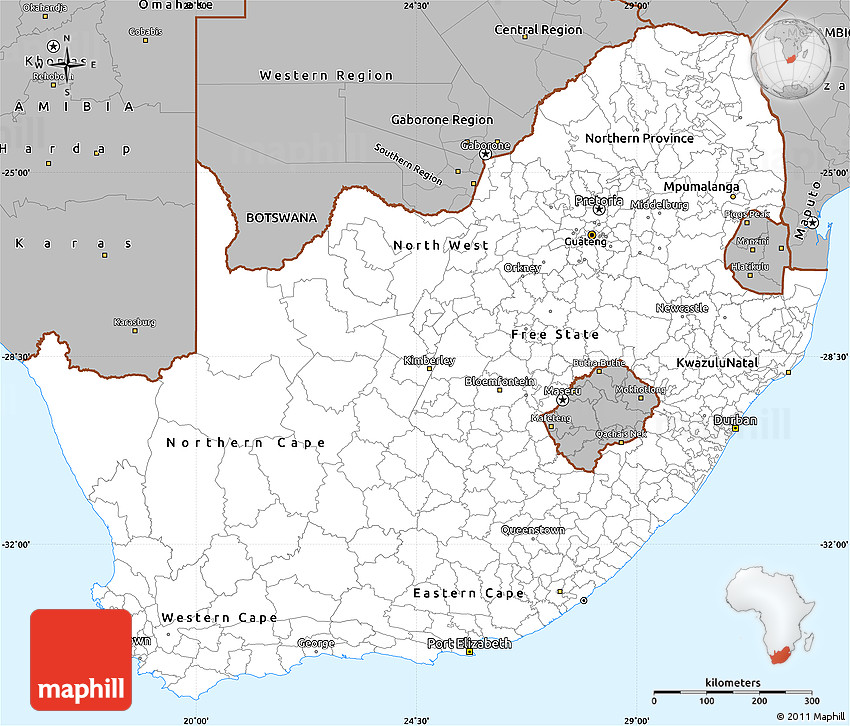 Gray Simple Map of South Africa