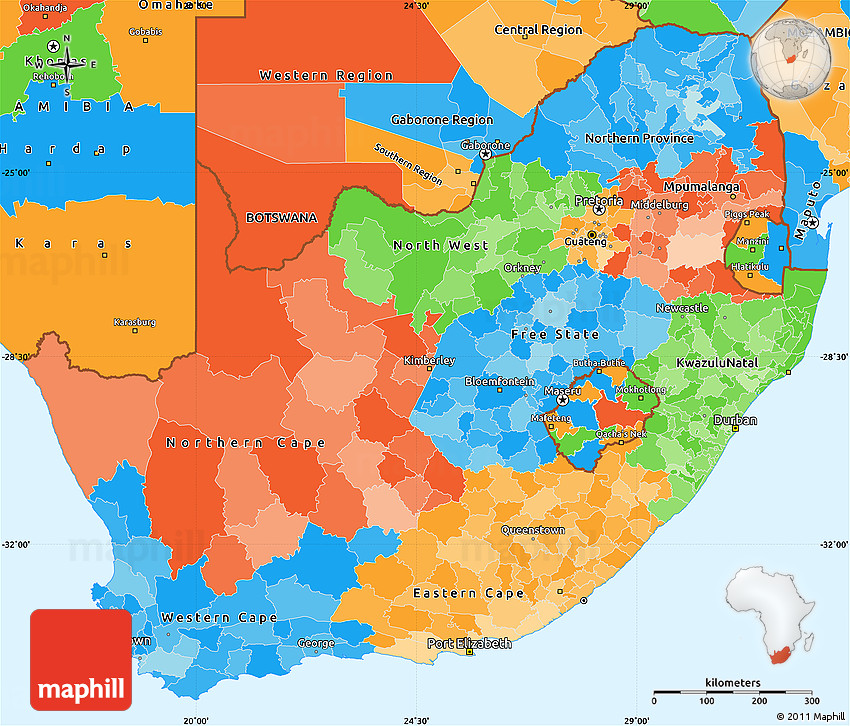 Political Simple Map Of South Africa