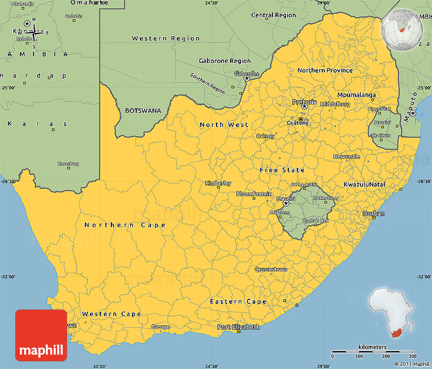 Savanna Style Simple Map of South Africa