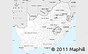Silver Style Simple Map of South Africa