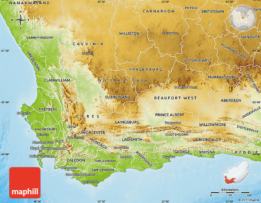 Physical Map Of Western Cape