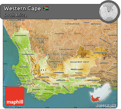 Free Physical Map of Western Cape satellite outside