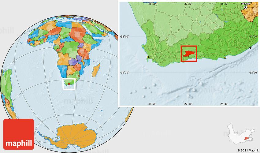 Political Location Map of OUDTSHOORN