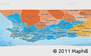 Political Shades Panoramic Map of Western Cape