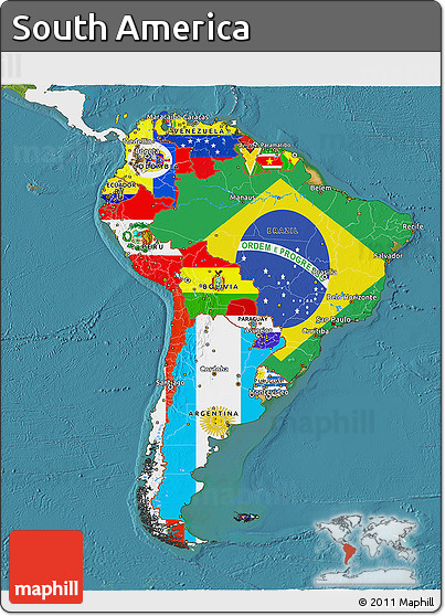 Free flag 3d map of south america single color outside for What color is south america