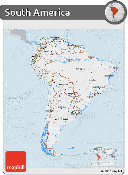 Free gray 3d map of south america single color outside for What color is south america
